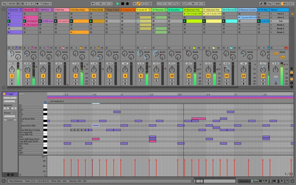 Interfaz de Ableton Live