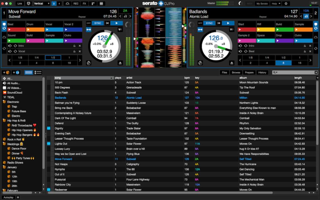 Dashboard de Serato DJ