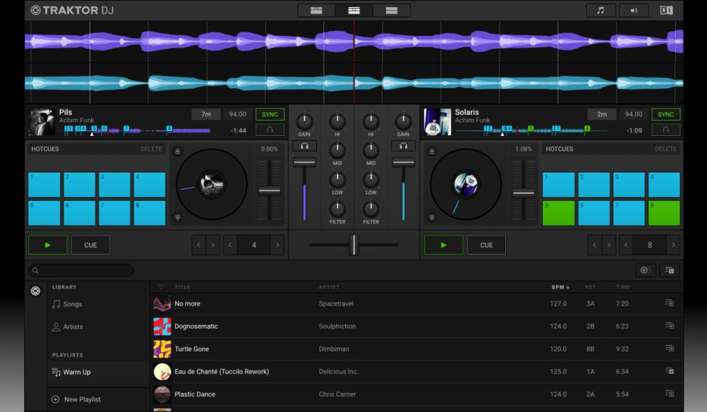 Dashboard del software Traktor DJ